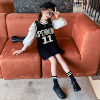 suit Guldoeleph / Gudong elephant Han Fan knitted dress + Bubble sleeve base shirt 120cm 130cm 140cm 150cm 160cm 170cm female spring Korean version Long sleeve + skirt 2 pieces Thin money There are models in the real shooting Socket nothing letter blending children Expression of love TZ0432 Class B