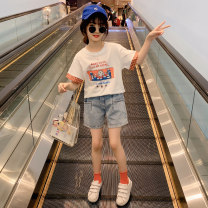 suit Guldoeleph / Gudong elephant White Korean cartoon T + Denim Shorts Black Korean cartoon T + denim shorts 120cm 130cm 140cm 150cm 160cm 170cm female summer Korean version Short sleeve + pants 2 pieces Thin money There are models in the real shooting Socket nothing Cartoon animation cotton TZ0455