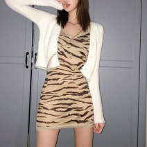Dress Autumn of 2019 skin colour S,M,L Short skirt singleton  Sleeveless street other middle-waisted Broken flowers other Pencil skirt routine camisole 18-24 years old Type A Stitching, aging, strap, printing D1735901 81% (inclusive) - 90% (inclusive) other polyester fiber Europe and America
