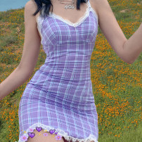 Dress Summer 2020 violet S,M,L Short skirt singleton  Sleeveless street other middle-waisted lattice other Pencil skirt other camisole 18-24 years old Type A Stitching, making old, lace D1737354 81% (inclusive) - 90% (inclusive) other cotton Europe and America
