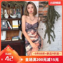 Dress Summer 2021 Dark brown S,M,L Short skirt singleton  Sleeveless street other High waist character other other other camisole 18-24 years old Type A Make old, strap K20B11232 91% (inclusive) - 95% (inclusive) other polyester fiber Europe and America