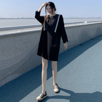 Dress Autumn 2020 black S,M,L,XL,2XL Mid length dress singleton  Long sleeves commute Crew neck Loose waist Solid color Socket A-line skirt routine Others Type A Auchan Yi Korean version Splicing, three-dimensional decoration knitting