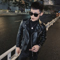 leather clothing Others Youth fashion black S,M,L,XL,2XL,3XL have cash less than that is registered in the accounts Imitation leather clothes Lapel Slim fit zipper spring leisure time teenagers PU tide Cloth hem Side seam pocket Zipper decoration other