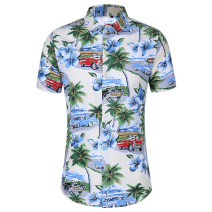 shirt Youth fashion Others M,L,XL,2XL,3XL,4XL,5XL,6XL,7XL Decor routine Pointed collar (regular) Short sleeve standard Other leisure summer Large size Youthful vigor 2021 Broken flowers Color woven fabric washing cotton Arrest line shape memory  More than 95%