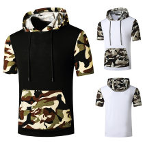 T-shirt Youth fashion Army green, black and white routine S,M,L,XL,2XL Others Short sleeve Hood standard daily Four seasons youth routine Youthful vigor Sweat cloth 2021 Solid color Color contrast cotton Geometric pattern No iron treatment Non brand More than 95%