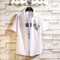 shirt Youth fashion Others M,L,XL,2XL,3XL,4XL,5XL White, black Thin money square neck Short sleeve standard Other leisure summer Large size Chinese style 2021 Solid color Color woven fabric No iron treatment cotton jacquard weave shape memory  More than 95%