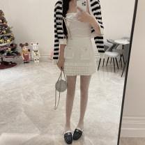 skirt Spring 2021 S,M,L The first batch of white Short skirt commute High waist A-line skirt stripe Type A S11103 boutique de viola cotton Splicing