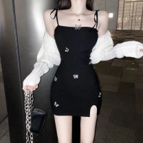 Dress Summer 2020 S M L Short skirt singleton  Sleeveless commute One word collar High waist Animal design Socket Pencil skirt other camisole 18-24 years old Type X A shy child Retro Backless embroidery More than 95% other polyester fiber Polyester 100% Pure e-commerce (online only)