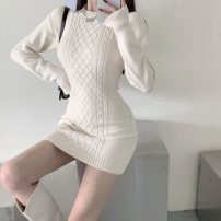 Dress Winter 2020 Black apricot S M L Short skirt singleton  Long sleeves commute Crew neck High waist Solid color Socket One pace skirt routine Breast wrapping 18-24 years old Type X A shy child Retro Splicing S4744 More than 95% knitting polyester fiber Pure e-commerce (online only)