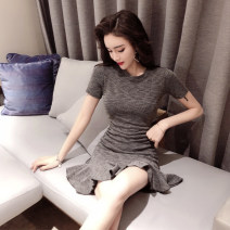 Dress Summer of 2019 S M L XL Short skirt singleton  Short sleeve commute Crew neck middle-waisted Solid color Socket Ruffle Skirt routine Breast wrapping 18-24 years old Type X A shy child Korean version Ruffle stitching More than 95% brocade polyester fiber Polyester 100%