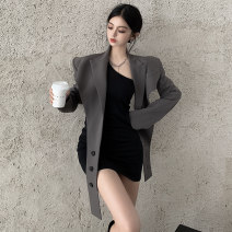 Dress Autumn 2020 Black skirt Khaki coat black skirt + coat S M L average code Short skirt Two piece set Long sleeves commute Slant collar High waist Solid color Socket Pencil skirt routine Breast wrapping 18-24 years old Type X A shy child Retro Fold splicing S4360 More than 95% brocade