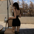 Dress Winter 2020 black S M L Short skirt singleton  Sleeveless commute Crew neck High waist Solid color Socket Pencil skirt routine camisole 18-24 years old Type X A shy child Retro Open back stitching Shame 1173 More than 95% knitting polyester fiber Pure e-commerce (online only)