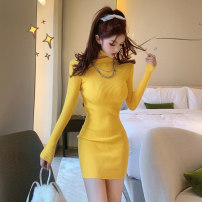Dress Spring 2021 Yellow sky blue S M L Short skirt singleton  Long sleeves commute High collar High waist Solid color Socket Pencil skirt routine Breast wrapping 18-24 years old Type X A shy child Retro Splicing S4922 More than 95% knitting polyester fiber Pure e-commerce (online only)