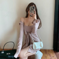 Dress Autumn 2020 Black suit grey suit pink suit black suspender skirt grey suspender skirt pink suspender skirt black coat pink coat grey coat S M L Short skirt singleton  Long sleeves commute One word collar High waist Solid color Socket Pencil skirt routine camisole 18-24 years old Type X Splicing