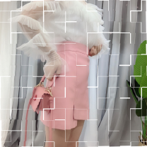 skirt Autumn of 2019 S,M,L White, black, pink Short skirt commute High waist A-line skirt Solid color Type A 18-24 years old CkbRYsVY 81% (inclusive) - 90% (inclusive) other PU Asymmetric, zipper, open line decoration Korean version
