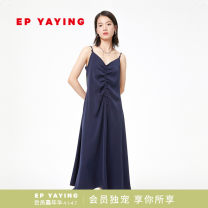 Dress Spring 2021 Navy Blue 2/S 3/M 4/L 5/XL 6/XXL Mid length dress Sleeveless commute V-neck Solid color other Pleated skirt camisole 30-34 years old Type A YAYING Ol style More than 95% polyester fiber Polyester 100% Same model in shopping mall (sold online and offline)