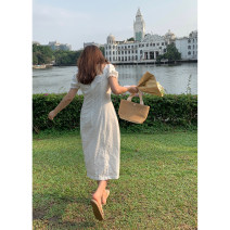 Dress Summer 2021 white M,L,XL,2XL longuette singleton  Short sleeve commute square neck High waist Solid color Socket A-line skirt routine Others 18-24 years old Type A Da Wan sauce Korean version DW21BP1061D More than 95% cotton