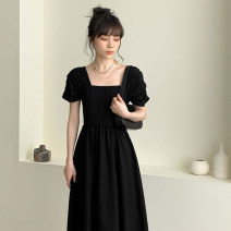 Dress Summer 2020 black S M L XL Mid length dress singleton  Short sleeve commute square neck High waist Solid color Socket A-line skirt puff sleeve Others 25-29 years old Type A zoqo Retro Button ZQ8986Z More than 95% other Other 100% Pure e-commerce (online only)