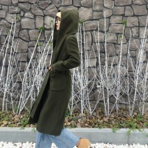 woolen coat Autumn 2020 M, L Army green Cashmere 51% (inclusive) - 70% (inclusive) Medium length Long sleeves commute Frenulum routine Hood Solid color Straight cylinder AYAH Pocket, lace up Solid color nylon Flannel