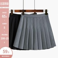 skirt Spring 2021 S,M,L,XL Gray, black, white Short skirt commute High waist Pleated skirt Solid color Type A 18-24 years old 51% (inclusive) - 70% (inclusive) other Other / other other Korean version