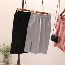 skirt Summer 2021 L, M Black, gray Middle-skirt Versatile High waist skirt Solid color Type H 81% (inclusive) - 90% (inclusive) cotton