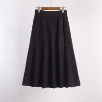 skirt Autumn 2020 Average size longuette commute High waist A-line skirt Solid color Type A 25-29 years old 71% (inclusive) - 80% (inclusive) knitting Viscose fold Korean version