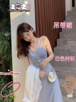 Dress Spring 2021 Blue suspender skirt, white suspender skirt, white shirt, dry rose pink shirt, blue suspender + white shirt, white suspender + dry rose pink shirt XS,S,M,L,XL singleton  Sleeveless commute V-neck Solid color Socket other 18-24 years old Korean version 2Y83yb other