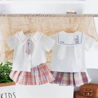 suit Single breasted children Expression of love 0 3 years old Other / other female summer lattice other Korean version Thin There are models in the real shot Long sleeve + skirt nothing other Blue, pink 90cm,100cm,110cm,120cm,130cm