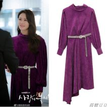 Dress Spring 2020 violet S,M,L,XL Mid length dress singleton  Long sleeves commute High collar Loose waist Solid color Socket Irregular skirt routine Others Type H Ol style Stitching, belt 71% (inclusive) - 80% (inclusive) corduroy polyester fiber
