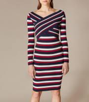 Wool knitwear Winter 2011 L,M,S,XS Red and blue stripes Long sleeves Socket other 91% (including) - 95% (excluding) V-neck stripe Karen Millen