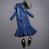 Dress Spring 2020 Dark blue, light blue S,M,L Mid length dress singleton  Long sleeves commute Polo collar middle-waisted Solid color Single breasted Princess Dress Princess sleeve Others 25-29 years old Type X Korean version Lace up, button 51% (inclusive) - 70% (inclusive) brocade cotton