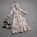 Dress Autumn of 2019 Average size Mid length dress singleton  Long sleeves Sweet V-neck middle-waisted Decor Socket Princess Dress Princess sleeve Others 18-24 years old Pleat, pleat 51% (inclusive) - 70% (inclusive) organza  cotton princess