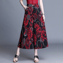 skirt Summer 2021 2XL,3XL,4XL Color six, color five, color four, color three, color two, color one Mid length dress Versatile Natural waist Umbrella skirt Broken flowers 40-49 years old
