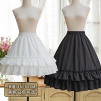 skirt Summer 2020 62cm long, 46cm short Black, white Sweet Solid color 18-24 years old Fishbone skirt Chiffon Ruffle, print, fungus Lolita