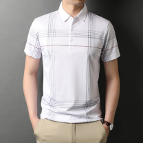 T-shirt Fashion City Lake blue white black thin 165/S 170/M 175/L 180/XL 185/2XL 190/3XL Rvednbau / redenburg Short sleeve Lapel standard daily summer Polyester 42.3% Lyocell 34.2% cotton 16% mulberry 7.5% youth routine Business Casual Summer 2021 stripe Button decoration No iron treatment