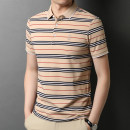 T-shirt Fashion City Rvednbau / redenburg thin Short sleeve Lapel standard daily summer 2722 Cotton 66.4% polyester 30.3% polyurethane elastic fiber (spandex) 3.3% youth routine Youthful vitality stripe Summer 2021 Button decoration Non iron treatment Pure e-commerce (online sales only)