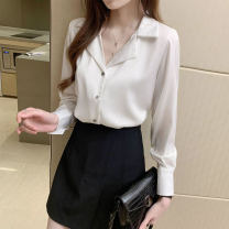 shirt White, black 2 / s, 3 / m, 4 / L, 5 / XL Spring 2021 other 96% and above Long sleeves Versatile Regular tailored collar Single row multi button routine Solid color Straight cylinder Brother amashsin