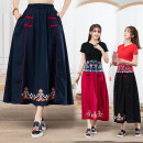 skirt Spring of 2019 Average size Red, Navy, black Mid length dress commute Natural waist Type H 18-24 years old 06158# 71% (inclusive) - 80% (inclusive) other Other / other hemp Embroidery ethnic style