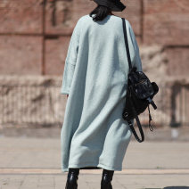 Dress Winter of 2019 wathet M, L longuette singleton  Long sleeves commute Crew neck Loose waist Solid color Socket Sleeve Type O literature Pockets, stitching 31% (inclusive) - 50% (inclusive) wool