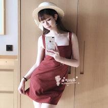 Dress Summer of 2018 Big red lattice suspender skirt, pink lattice suspender skirt S (spot, auction), m (spot, auction), l (spot, auction)