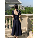 Dress Summer 2020 Everyday (can be worn on both sides), smart (deep open back) XS,S,M,L Mid length dress singleton  Short sleeve commute V-neck High waist Solid color Single breasted puff sleeve Others 18-24 years old Button
