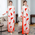 Dress Spring 2021 Orange M,L,XL,2XL,3XL longuette Two piece set Nine point sleeve commute stand collar middle-waisted Decor Socket raglan sleeve Others Type H literature printing 81% (inclusive) - 90% (inclusive) polyester fiber