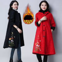 Windbreaker Autumn of 2019 M,L,XL,2XL Red, black Long sleeves thickening Medium length commute Single breasted Hood routine Solid color ethnic style Other / other 81% (inclusive) - 90% (inclusive)