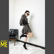 Dress Spring 2021 Black leopard skirt design long sleeve dress Average size 81% (inclusive) - 90% (inclusive) cotton