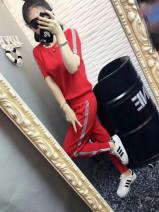 Fashion suit Summer 2021 S,M,L,XL,XXL,XXXL Red, black, white, pink, blue, sky blue Ouyimei Viscose