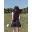 skirt Summer 2021 1 (XS), 2 (s), 3 (m), 4 (L), 5 (XL) Navy Blue Short skirt street High waist A-line skirt Solid color Type A 18-24 years old Wangnansheng Europe and America