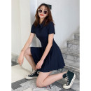 Dress Summer 2021 Black, Navy S,M,L Short skirt singleton  Short sleeve commute Polo collar High waist Solid color A button Pleated skirt routine Others 18-24 years old Type A Retro 31% (inclusive) - 50% (inclusive) other