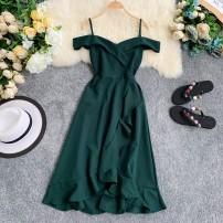 Dress Summer 2020 Black, red, green, pink, yellow Average size Short skirt singleton  Short sleeve commute V-neck High waist Solid color Socket A-line skirt routine camisole 18-24 years old Type A Korean version 30% and below Chiffon