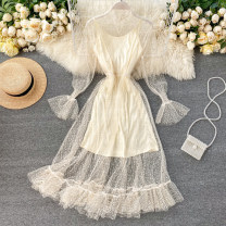 Dress Spring 2020 Black, apricot, white Average size longuette Two piece set Long sleeves commute stand collar High waist Solid color Socket A-line skirt pagoda sleeve Others 18-24 years old Type A Gauze 31% (inclusive) - 50% (inclusive) other other