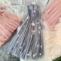 Dress Summer 2020 Average size Mid length dress singleton  Long sleeves commute Crew neck High waist Solid color zipper Big swing routine Others 18-24 years old Type A Korean version zipper 31% (inclusive) - 50% (inclusive) other